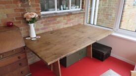Large, rustic, custom made dining table, seats 8-10