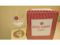 Royal Albert Crystal Regency White Wine Glasses 2 boxes with 2 glasses in each.