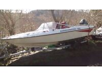 Fletcther Arrowsport 150 speedboat plus 50 hp 4 cylinder mercury engine and trailer.