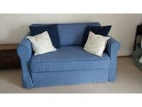 IKEA Hagalund dark blue check 2 seater sofa bed - fantastic mint condition