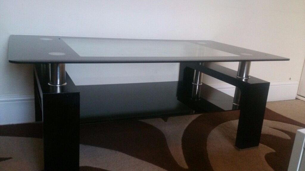 Coffee Table Good Used Condition Black Glass Furniture