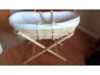 John Lewis Moses Basket with Mattress and Wooden Stand for sale