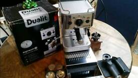 Espresso machine Dualit 3 in one, ground coffee or pods ( full kitchen set up) + Accessories
