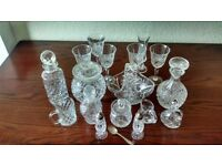 Crystal cut glass 17 items and silver spoon