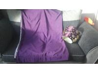 purple curtains and light shade