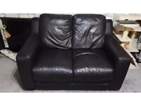 Black leather 2 and 3 piece sofas