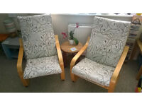 2 IKEA POANG CHAIRS ARMCHAIRS ? BIRCH LIGHT WOOD FRAME NATURAL BEIGE GREY BROWN LEAF DESIGN