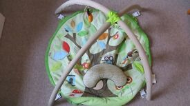 Baby activity mat with pillow, detachable toys and other features.