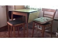 Vintage Formica Kitchen Table & 2 Chairs