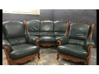 Leather 3 11 sofa set £495 ready for delivery