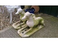pair of stone dogs for garden