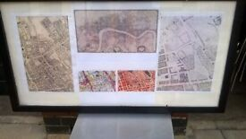 Framed maps of Marylebone central London bargain