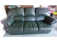 Bottle green leather 3 seater sofa