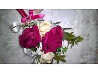 wedding corsage. matches posies listed burgundy/cream. others listed.