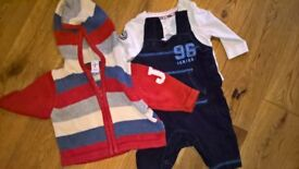 Awesome Jasper Conran Hoody, dungarees and white shirt baby boy 0-3 months