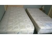 Guest bed with padded headboard, & second bed underneath. Versatile set with two quality matresses