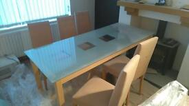 Frosted glass table and chairs