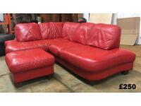 DFS red leather corner sofa DELIVERY AVAILABLE