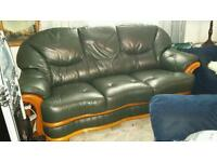 Italian Dark Green Soft Leather 2 and 3 Seater Sofas Within a Wooden Frame
