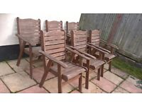 6 Wooden garden chairs