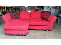 Dfs Red Fabric Corner Sofa for Sale
