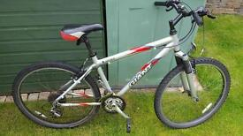 Mens GIANT Rock bike. Silver, black and red