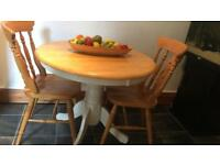 Round pine table and 2 chairs SOLD