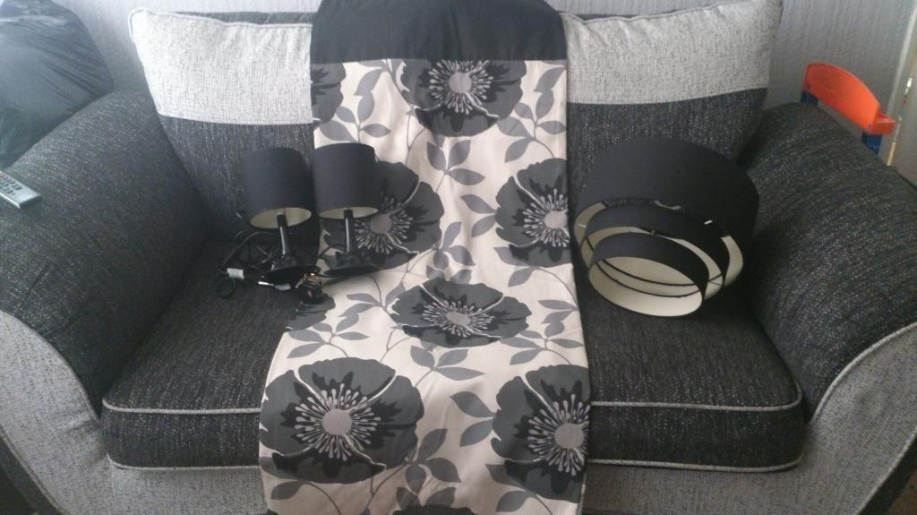 black and white curtains with black light shade