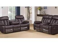 3+2 seater brown leather reclining sofas