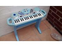 Blue childs toy keyboard with stand