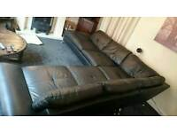 Black leather reids corner sofa