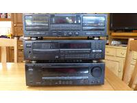 Kenwood: Double cassette deck kx-w8050; multi compact-disc player dp-m7750; audio stereo kr-v6050