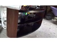 Black glass and walnut 3 tier TV and electronics stand