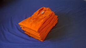 6 Mens Bright Orange Canvas Shirts. Size S-M. Chest size 92cm.