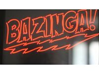 BAZINGA BIG BANG THEORY RED NEON SIGN WALL ART LIGHT FRAME HANGING SHELDON LIGHTING ART BLACK FRAME