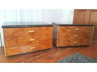 2x Vintage Italian Bedside Tables Chest by Verado Mid Century