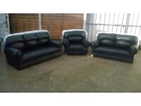 Leather 3 piece suite, black, Brand new and unused, sofa's, armchair, can deliver.