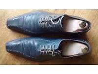 Blue leather shoes (Italian) - size 12/46