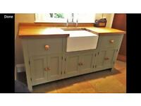 solid redwood pine Kitchen sink and unit