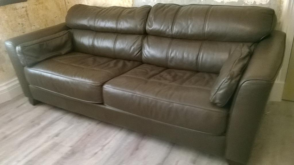 Brown leather sofa 3 2 seater for sale in dennistoun for Tan couches for sale