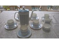 Royal Doulton Counterpoint pale blue and silver tea set