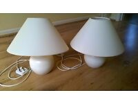 Pair of Cream Bedside Lamps with Shades