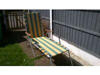 NICE VINTAGE , RETRO SUN LOUNGER WITH WOODEN ARMS IDEAL CAMPER VANS ECT