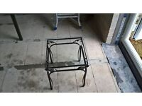 Wrougt iron Glass top side/lamp table