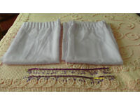 Pair Pale Lavender Voil Curtains with ribbon and bead tie backs