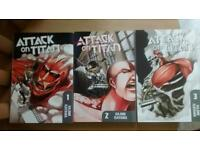 Attack on titan manga volumes 1-3 collection only