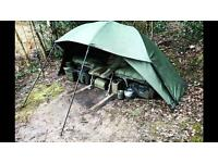 Carp fishing Aqua Mk2 Fast & Light Brolly with storm poles