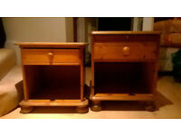 Pine bedside cupboards/tables with drawers