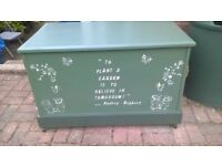 large wooden storage box for tools/toys
