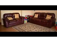 Brown faux leather 3+2 seater sofa with delivery